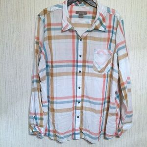 Natural Reflections Button Up Plaid Top